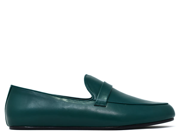 dara shoes mens pavia green leather loafers side view