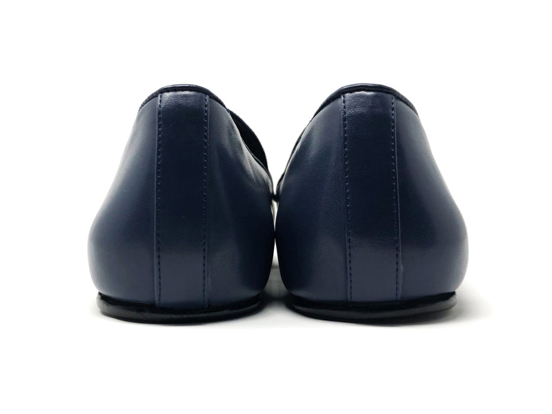 dara shoes mens pavia blue leather loafers back view