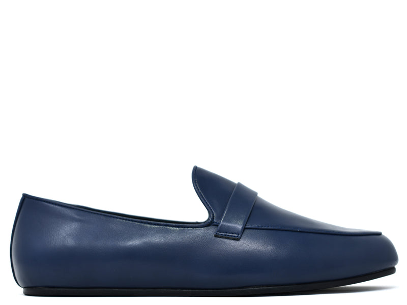 dara shoes mens pavia blue leather loafers side view