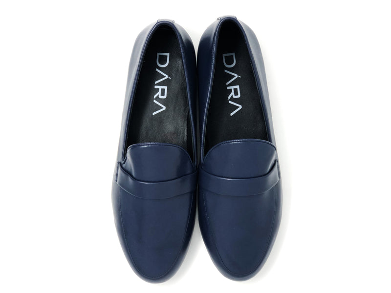 dara shoes mens pavia blue leather loafers top view