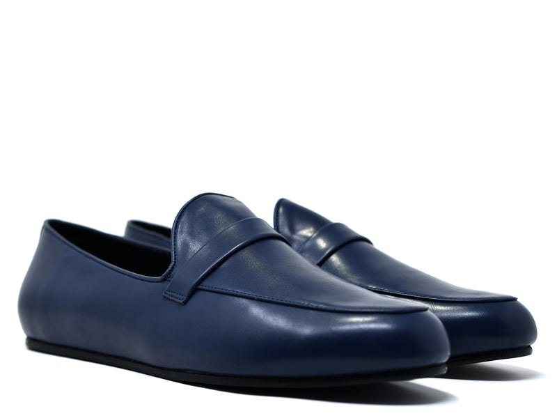 dara shoes mens pavia blue leather loafers angle view