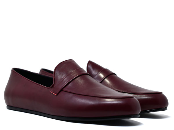 dara shoes mens pavia oxblood red leather loafers angle view
