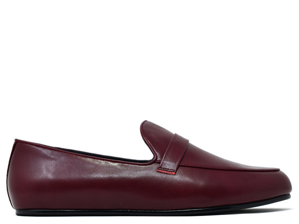 dara shoes mens pavia oxblood red leather loafers side view