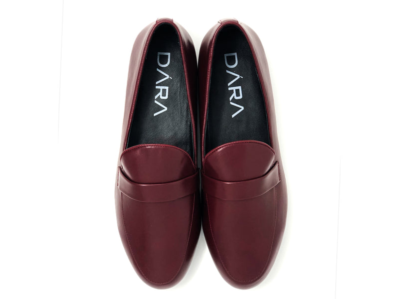 dara shoes mens pavia oxblood red leather loafers top view