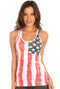 Distressed US Flag Print Racerback Tank | MS-102DFL