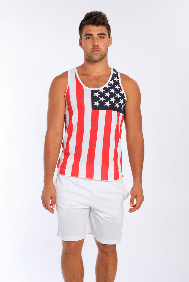 Men's Tank w/ US Flag All Over Print • MS-186USF