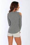 2x1 Rib L/S Cold shoulder Tee - MS-320