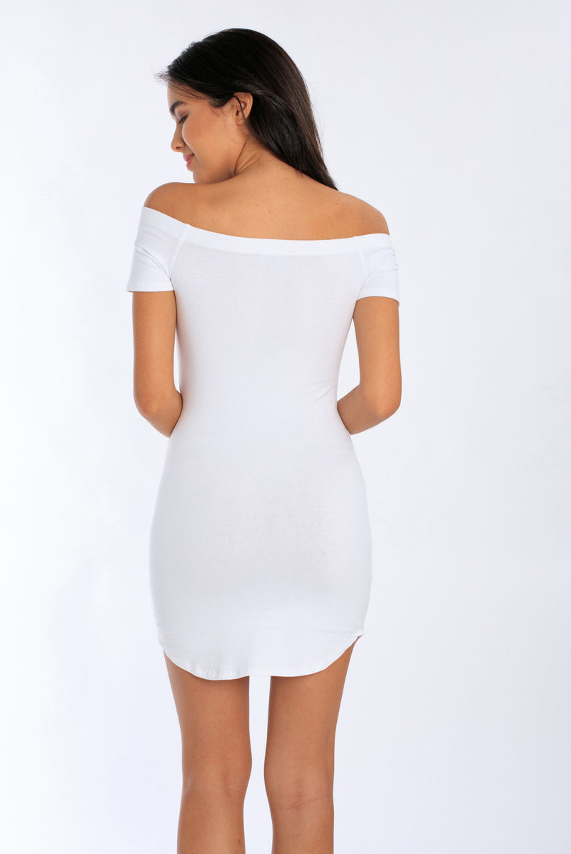 Fitted Off-Shoulder Bodycon Dress | MS-435
