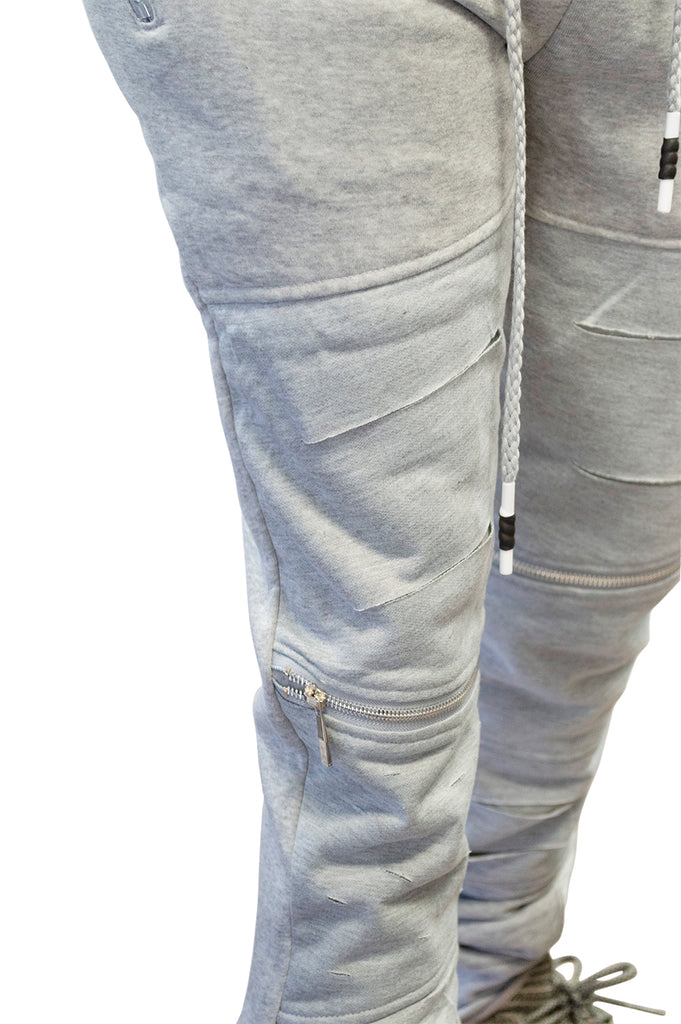 Mens Casual Slim Fit Ripped french terry joggers RAZOR CUT
