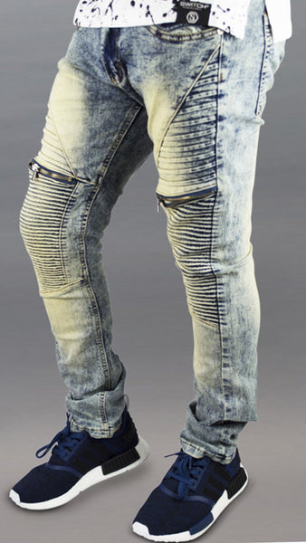 MENS stretch JEANS biker zipper distressed ripped