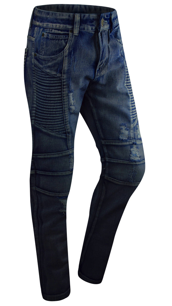 MENS STRETCH slim biker distressed jeans