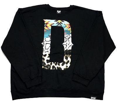 "DFYNT Rose DFYNT ''Tribal D"" Fashion Urban Black Crewneck FREE SHIPPING  F5"