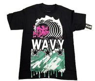 Wavy Clothing Mens Authentic Quality Fashion Cotton Tee Shirt Black wave f055a8a6eb331