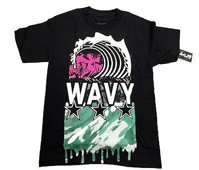Wavy Clothing Mens Authentic Quality Fashion Cotton Tee Shirt Black wave