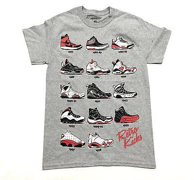 Sneaker Shoes Tee Shirt Retro Kicks GRAY Red Authentic Classics Mens S-2XL RETR