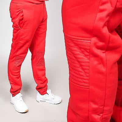 Men's Fleece Detailed Red Biker Jogger