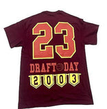LEBRON Tee Shirt Draft Day 2003 BURGANDY  Cotton Authentic Classics Mens S-2XL