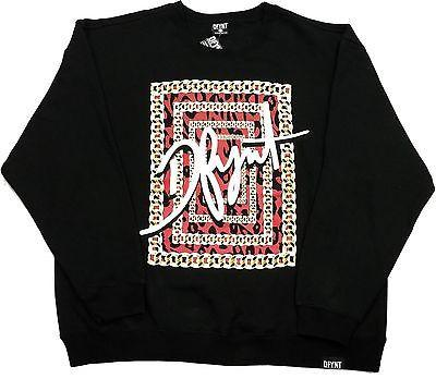 "DFYNT Rose DFYNT ""Chains"" l Fashion Urban Black Crewneck FREE SHIPPING  F2"