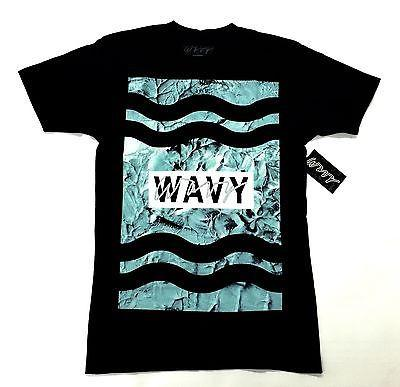 Wavy Clothing Mens Authentic Quality Fashion Cotton Tee Shirt Black