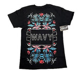 Wavy Clothing Mens Authentic Quality Fashion Cotton Tee Shirt Black flower