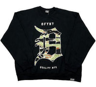 "DFYNT Rose DFYNT ""Camo Print"" l Fashion Urban Black Crewneck FREE SHIPPING  F2"