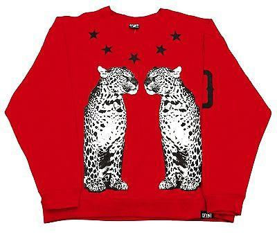 "DFYNT Rose DFYNT ""Red Cheetah"" l Fashion Urban Red Crewneck FREE SHIPPING  F2"