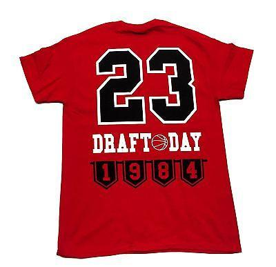 MJ Tee Shirt Draft Day 1984 RED Cotton Authentic Classics Mens S-2XL JORDAN