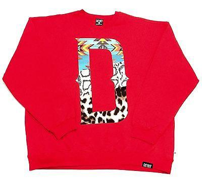 "DFYNT Rose DFYNT ''Tribal D"" Fashion Urban Red Crewneck FREE SHIPPING  F5"