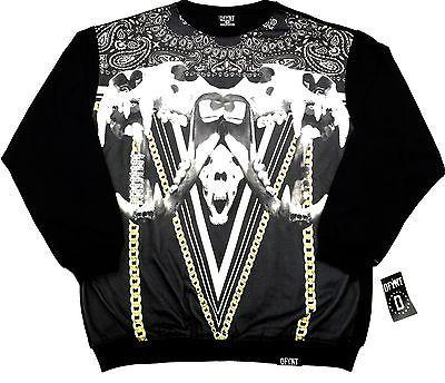 "DFYNT Rose DFYNT ""Skulls"" l Fashion Urban Black Crewneck FREE SHIPPING  F2"