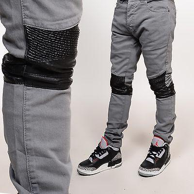 RS7 Twill Gray PU Biker Knees Skinny Pants