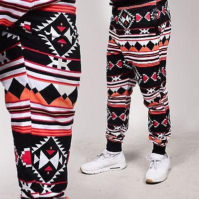 Men's Fleece Aztec Black/Red and Orange Color Jogger