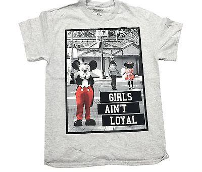 Mickey Mouse Tee Shirt Parody Funny Aint Loyal Gray Authentic Classics Men S-2XL