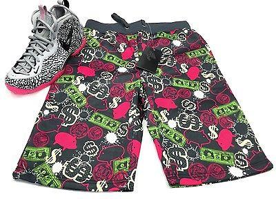 Mens French Terry  Floral Stretch In Bloom Flowers Urban Shorts FREE SHIPPING