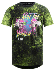 Men's Splatter Print RUN THE WORLD  Style Neck Elongated Longline