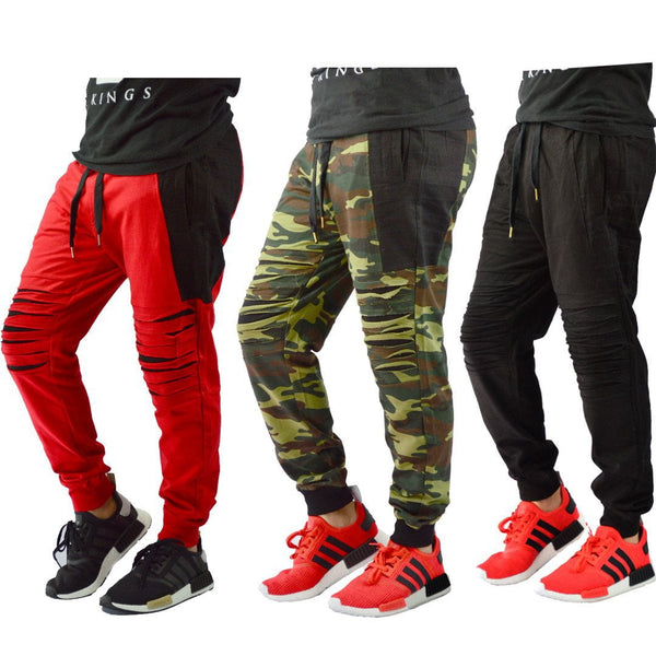 Mens Fleece Biker Zipper joggers Shred Joggers