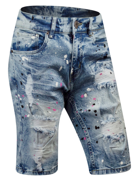 Mens SLIM Fit Denim Jean SHORTS RIPPED SPLATTERS VINTAGE