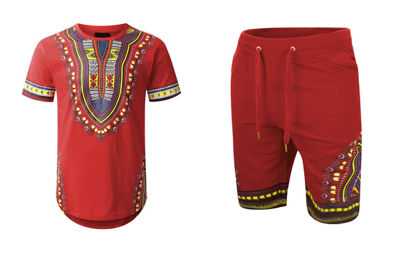 matching set dashiki Drawstring Shorts WITH SHIRT