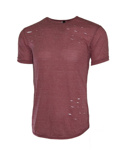 Mens RIPPED  made in the usa  Crew Neck Elongated longline t shirt