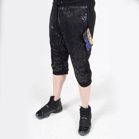 Mens Summer French Terry Apparel Anime Emoji BLACK  Print JOGGER Shorts