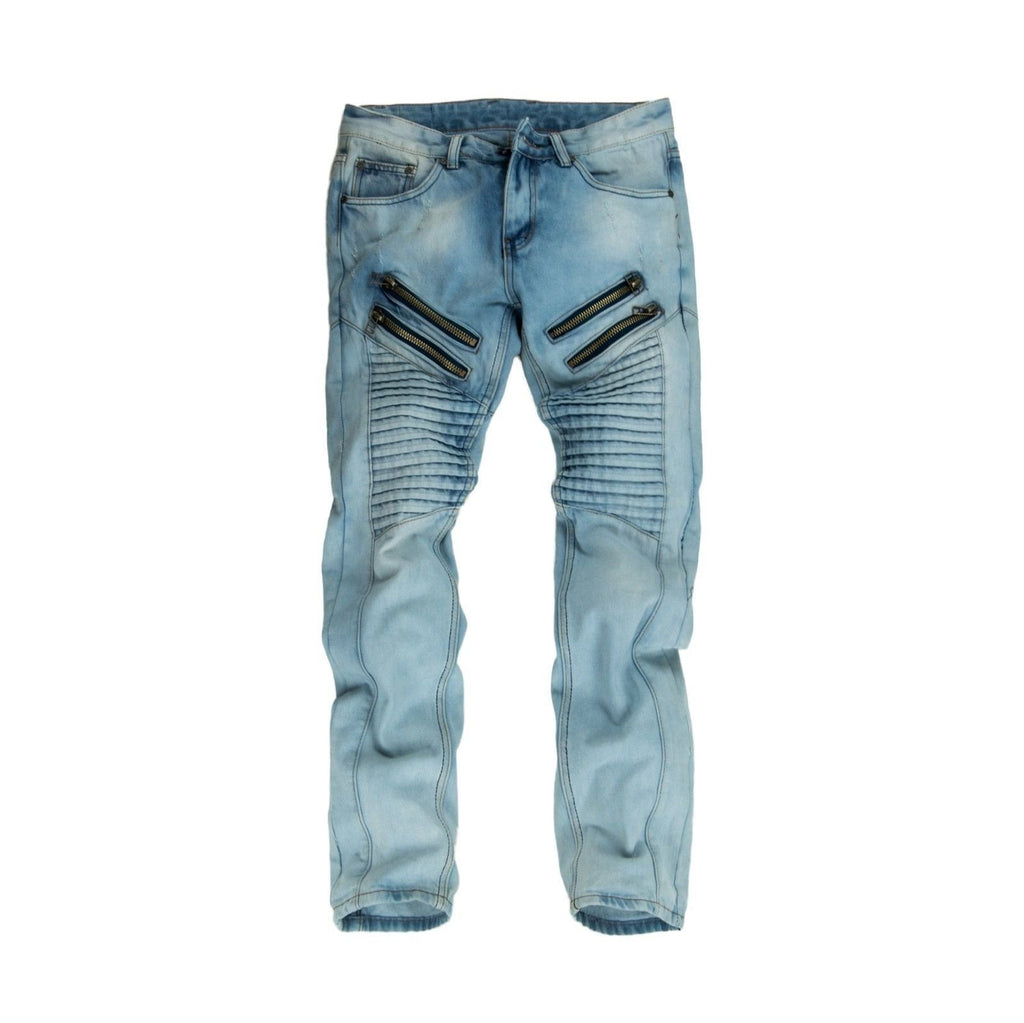 Men's Light Wash Biker Pants with Double Zipper