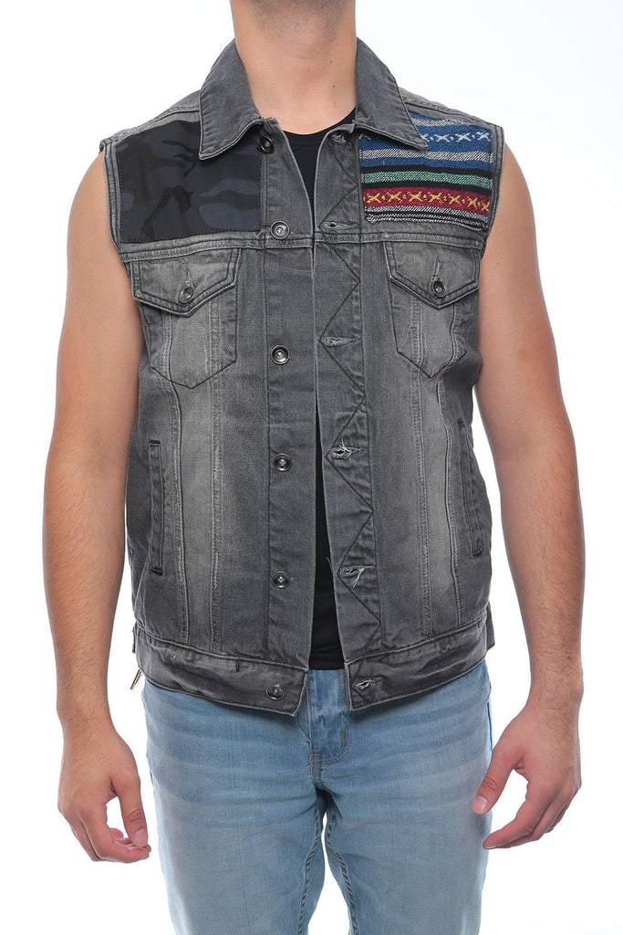 Men's NEW  Denim biker vest  Color Vest casual Jacket JEAN VEST BLACK AZTEC CAMO