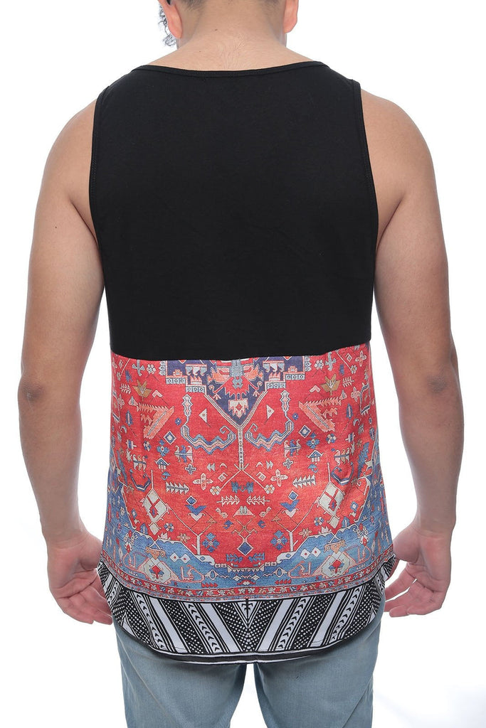 Mens YEEZY STYLE AZTIC PRINTCrew Neck Elongated S-2X Longline Tee TANK TOP