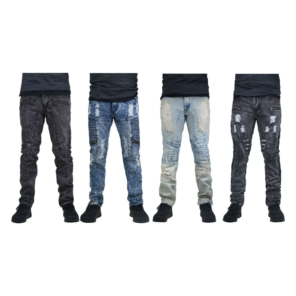 Distressed Biker Denim ripped zipper jeans