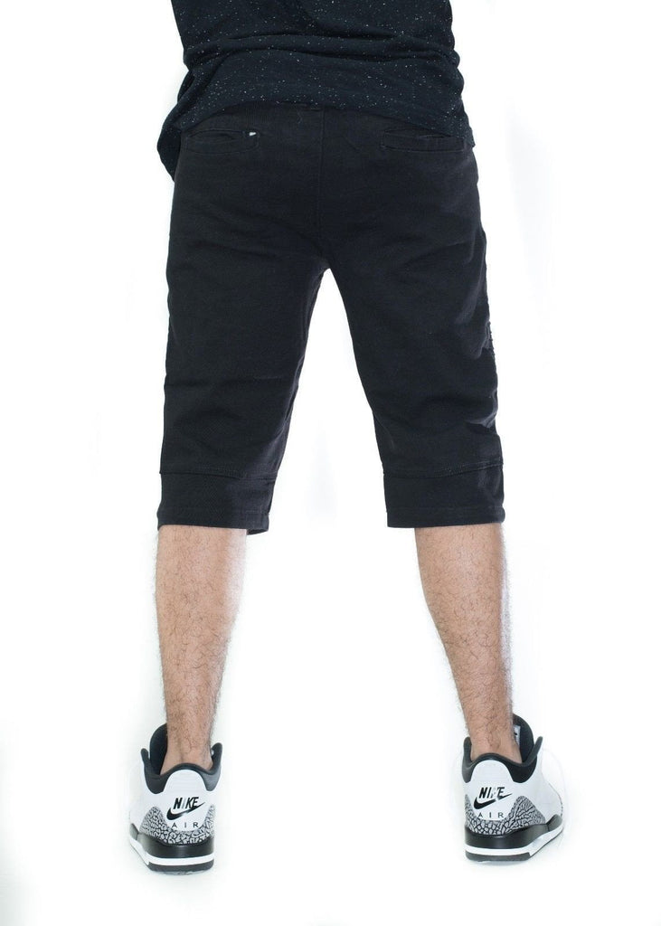 Men's Premium BLACK JEANS Biker  BELT LOOP Skinny Shorts free shipping