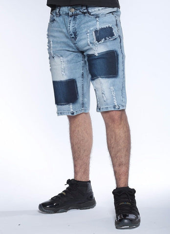 Mens SLIM Fit Denim Jean SHORTS ACID WASHED SHORTS RIPPED VINTAGE SASCO MS16005