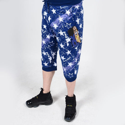 Mens Summer French Terry Apparel Anime Emoji PATRIOT Print JOGGER Shorts