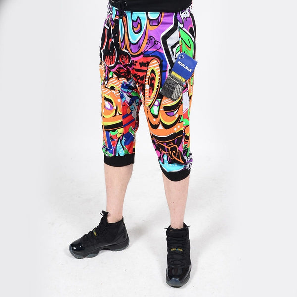 Mens Summer French Terry Apparel Anime EMOJI STREET Print JOGGER Shorts