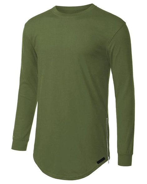 Elongated Basic Drop Tail Long Sleeve T-Shirt
