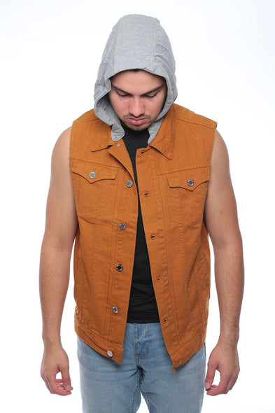 Men's NEW  Denim biker vest  Color Vest casual Jacket JEAN VEST KAHKI HODD