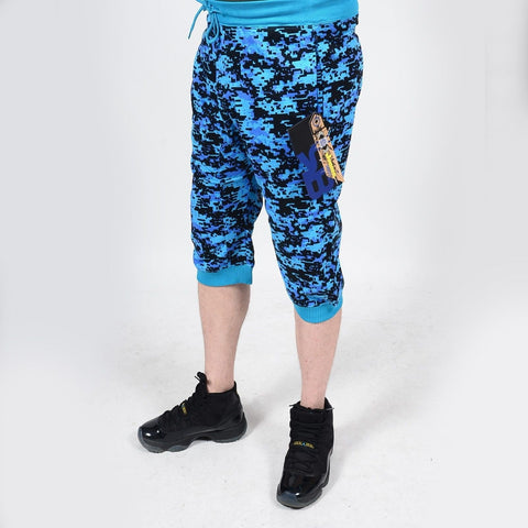 Mens Summer French Terry Apparel Anime EMOJI NEON TURQUOISE Print JOGGER Shorts